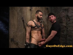 Inked sub restrained for toying and jerking