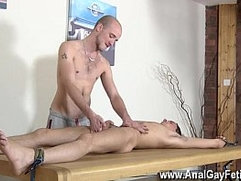 Gay trimmed pubic hair tube Brit lad Oli Jay is corded down to the