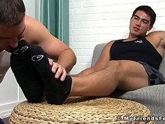 Asian jock Axel Kane cums hard during toe licking