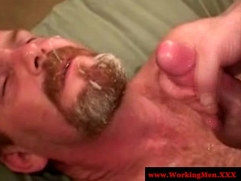 Straight rednecks end gay love porn with facial