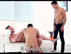HD ManRoyale Three guys shove hard cock down their throats