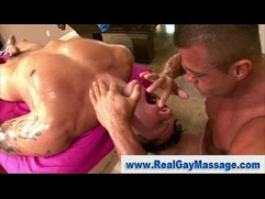 Straight guy subdued by gay bear masseuse