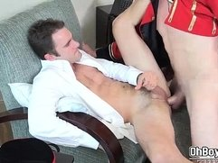 Dick swapping blowjob and hard anal fuck with bellboys big dick