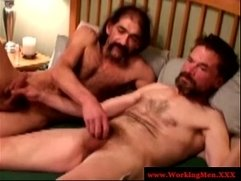 Mature gay guys up close barebacking