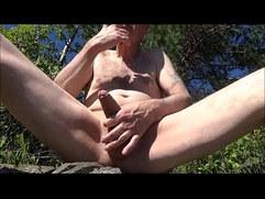 Pervert Ulf Larsen pee, wank, suck while exhibiting himself outdoor!