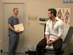 Reckless gay doctor sucking a hard cock