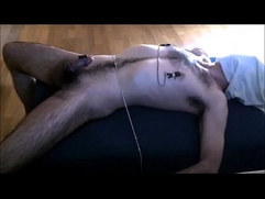 Male tied, edged with her vibrator and nipple clamps
